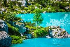 Alpin lake Sorapis - Italian Dolomites stunning landscape. Stock Photos