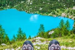Alpin lake Sorapis - Italian Dolomites stunning landscape. Royalty Free Stock Photography