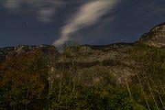 Alpin panorama i natten royaltyfri foto