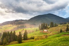 Alpin plats för grön vår Bergby på backar royaltyfri foto