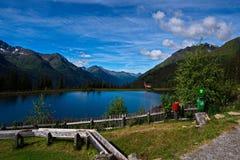 Alpin sjö i de österrikiska fjällängarna Royaltyfria Bilder
