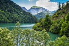 Alpin sjö Ritsa i Abchazien Royaltyfri Bild
