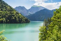 Alpin sjö Ritsa i Abchazien Arkivfoton