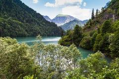 Alpin sjö Ritsa i Abchazien Fotografering för Bildbyråer
