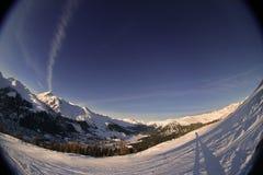 alpin solnedgång 2 Arkivfoto