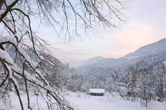 Alpin solnedgång VII Arkivfoton