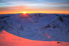 alpin solnedgång Fotografering för Bildbyråer