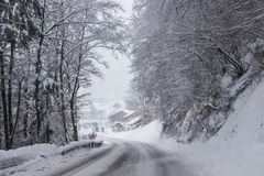Alpin vinterdag Arkivfoto