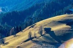 Alpin-Weide mit grünem Gras und einigen Kabinen stockfotos