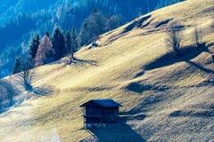 Alpin-Weide mit grünem Gras und einigen Kabinen lizenzfreies stockfoto