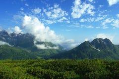 Alpina ängar, berg och massor av vita moln med härligt sommarlandskap Arkivfoton