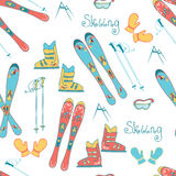 Άνευ ραφής σχέδιο σκι βουνών κινούμενων σχεδίων Διανυσματικό υπόβαθρο με το σκι, τις μπότες, τη μάσκα και τα ραβδιά alpina για τα Στοκ Εικόνες