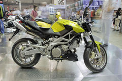 Alpina Shiver. KIEV, UKRAINE - APRIL 29: A new Alpina Shiver 750classic sport motorbike is on display at the International Specialized Exhibition, Motobike 2012 Royalty Free Stock Image