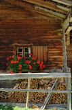 Alpine 016. A view at a wooden house in an alpine village Stock Photography