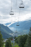 Alpine air lift with Les Houches in the background Stock Images
