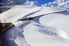 Alpine Alps mountain landscape at Jungfraujoch Stock Photos