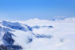 Alpine Alps mountain landscape at Jungfraujoch Stock Photos