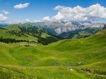 Alpine Ansicht Julis vom Sella-Durchlauf in den Dolomit, Süd-Tirol, Italien Stockfotos