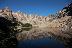 Alpine Argentina. A reflection of the mountain around Refugio Frey in Argentina Royalty Free Stock Photos