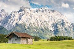 Alpine barn in the Karwendel Mountain range Royalty Free Stock Photos