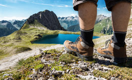 Alpine boots. Close-up alpine boots; mountain climbing in Austria Royalty Free Stock Images