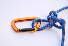 Alpine butterfly knot. With climbing gear Royalty Free Stock Photography