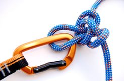 Alpine butterfly knot. With climbing gear Stock Image