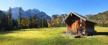 Alpine cabin at rhontal valley, karwendel, austria. N landscape royalty free stock image