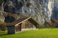 Alpine cabin in Switzerland stock image