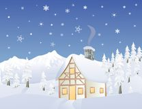 Alpine cabin in Winter. Time in a mountainous forest vector illustration