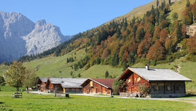 Alpine cabins, karwendel valley, austria Royalty Free Stock Photo