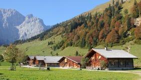 Alpine cabins, karwendel valley, austria Royalty Free Stock Photo