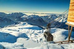 Alpine cable car station,Alpe d Huez,France,Europe Stock Photo