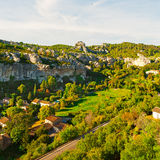 Alpine Canyon. French Town at the Bottom of the Alpine Canyon Stock Images