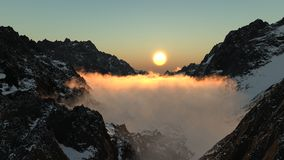 Alpine5. A CG render of a high Alpine pass at dawn with low lying cloud filling the valley Royalty Free Stock Photography