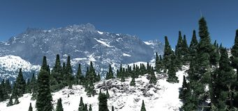 Alpine4. A CG render of a high alpine pass with fir trees in the foreground Stock Image