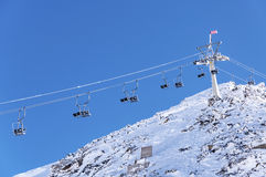 Alpine chairlift in Hintertux Royalty Free Stock Photography