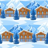 Alpine chalet houses seamless pattern. Winter resort landscape with snowy mountains and fir forest.  Royalty Free Stock Photography