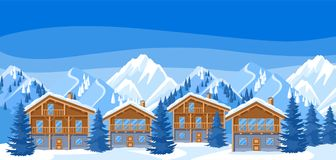 Alpine chalet houses. Winter resort illustration.  Royalty Free Stock Photos