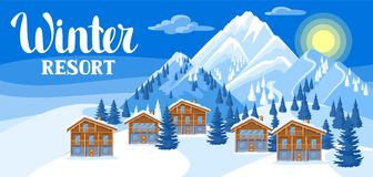 Alpine chalet houses. Winter resort illustration Stock Photography