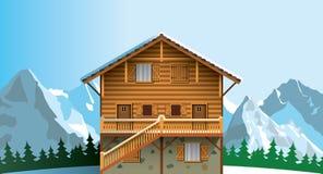 Alpine chalet. Alpine mountain wooden chalet .Sunny day royalty free illustration