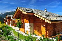 Alpine chalets stock photography
