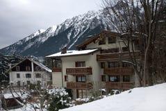 Alpine Chalets, Frankreich Stockfotos