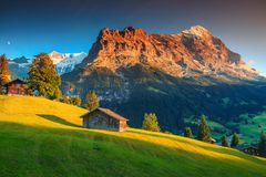 Alpine chalets with green fields and high mountains at sunset. Amazing Swiss alpine mountain landscape, wooden chalets on green fields and high mountains with stock photography