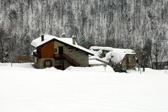 Alpine Chalets, Italy Stock Photo