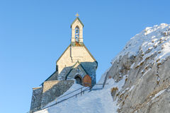 Alpine Chapel Against a Deep Blue Sky III Royalty Free Stock Photos