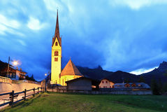 Alpine church at evening Stock Photography