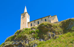 Alpine church. View of a mountain chapel on alps, riale location Stock Image