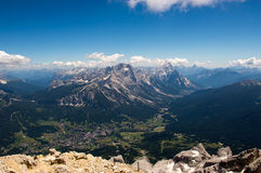 Alpine city lying in valley. Alpine city lying in a valley with surrounding mountains, Cortina d'Ampezzo, Italy Royalty Free Stock Photography
