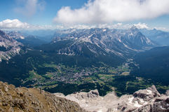Alpine city with surrounding mountains Royalty Free Stock Photo